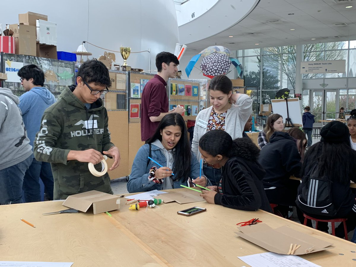 Federal Way High School students create models of exhibits at a Seattle Center worksite tour visit.