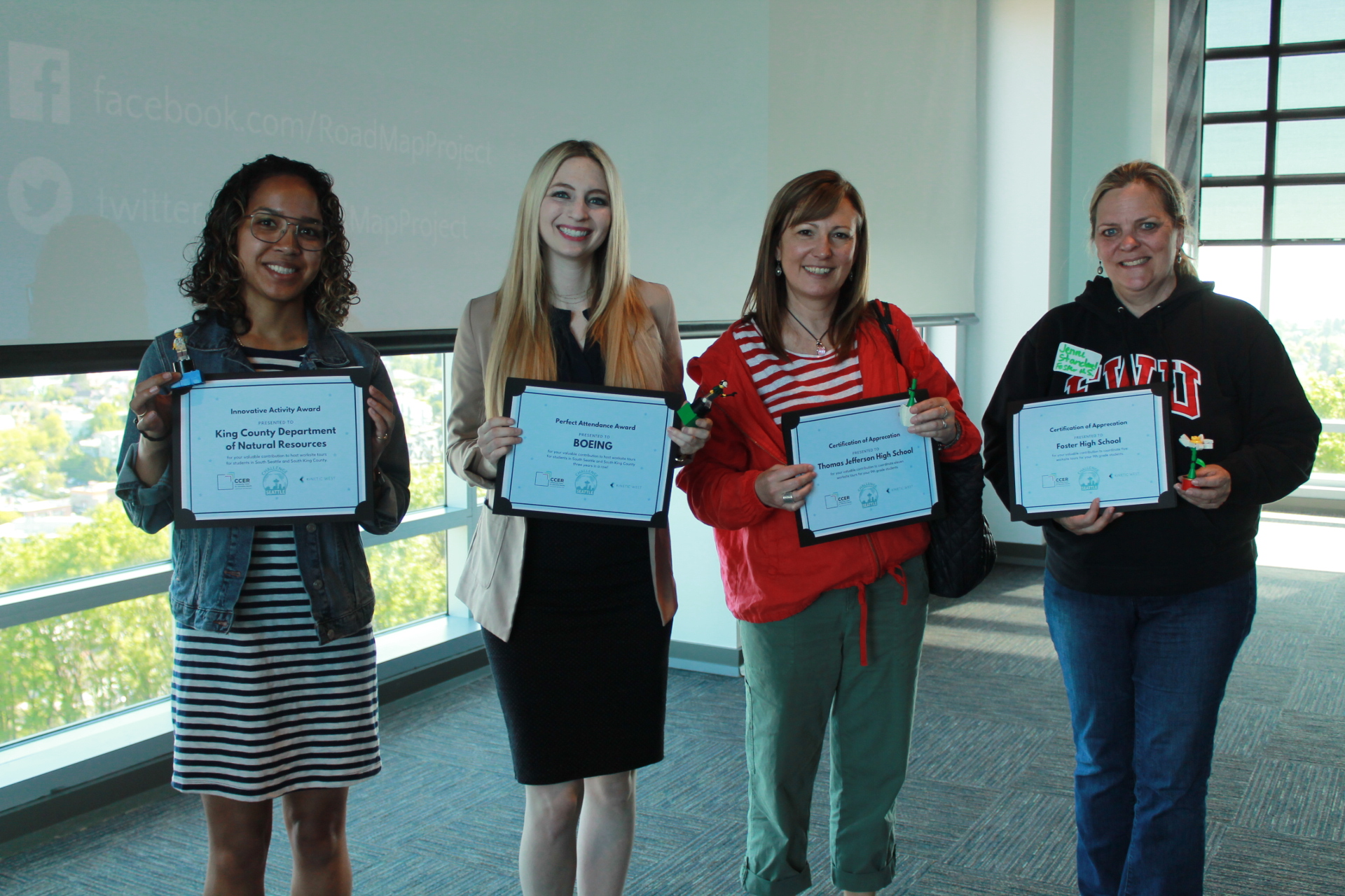 Two 2018-2019 worksite tour awardees from King County Dept. of Natural Resources and Boeing, with two school coordinators from Thomas Jefferson High School and Foster High School.