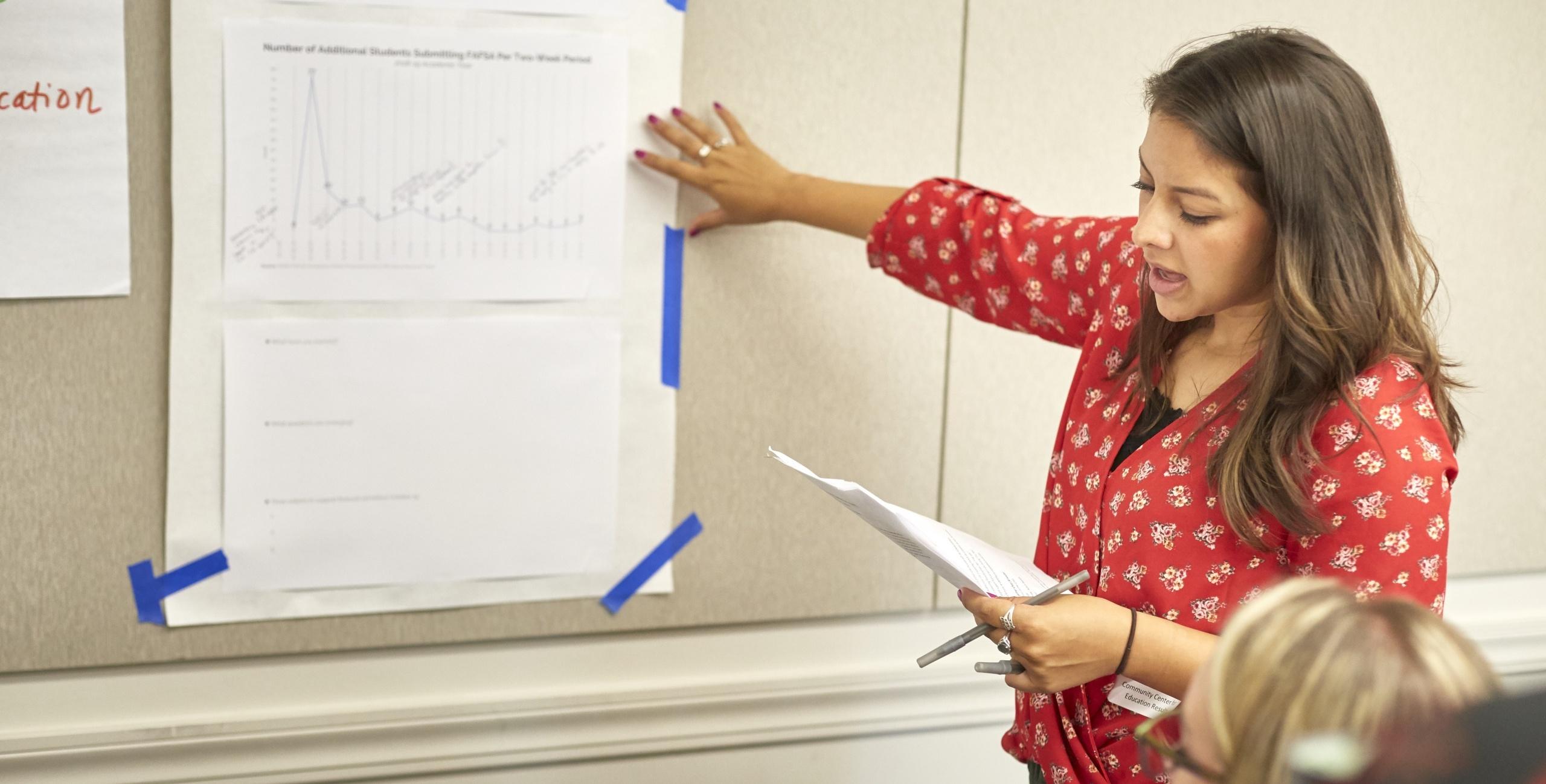 Educators examine data during a College and Career Leadership Institute workshop.
