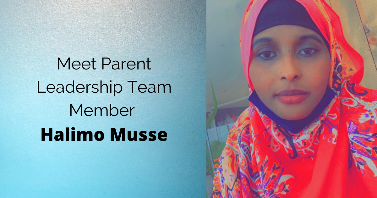 Photo card of parent leader Halimo Musse